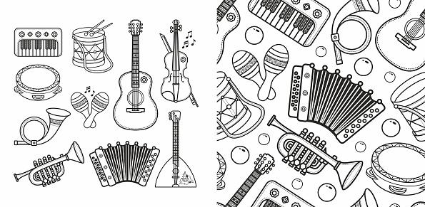 Musical instrument - Violin, drum, accordion, percussion, electric piano, guitar, rhythmix, horn, saxophone, balalaika, maracas. Cute cartoon musical instruments.coloring book. Outline silhouette line