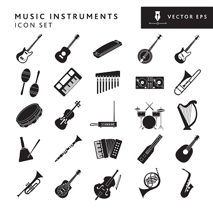 Musical instruments and elements big Icon set on white background - editable stroke
