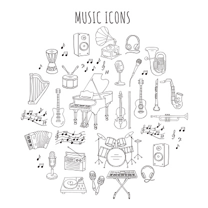 Musical instruments and symbols vector illustrations.