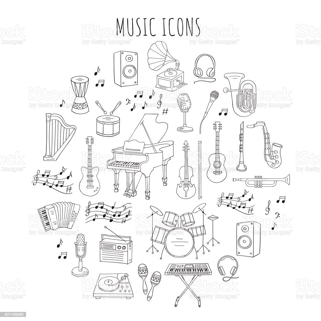 Musical instruments and symbols vector illustrations. vector art illustration