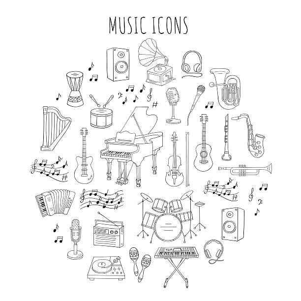 ilustraciones, imágenes clip art, dibujos animados e iconos de stock de musical instruments and symbols vector illustrations. - íconos de la música