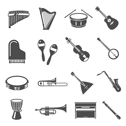 Musical instruments bold black silhouette icons set isolated on white. Harp, drum, flute, piano.