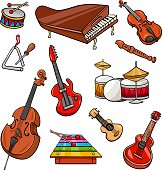 musical instruments cartoon illustration set
