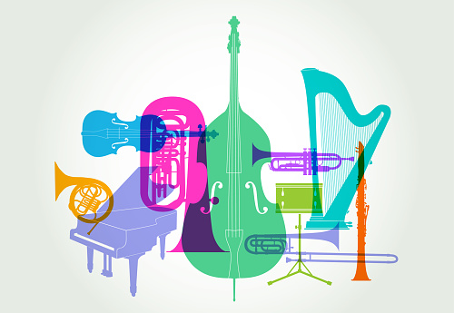 Colourful overlapping silhouettes of Classical Orchestra musical instruments