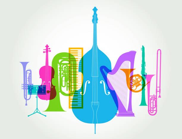 bildbanksillustrationer, clip art samt tecknat material och ikoner med musikinstrument - klassisk orkester - orkester