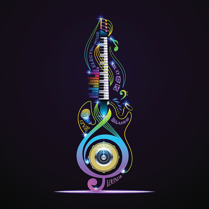 Colorful musical instruments collage. Vector concept for live, rock, jazz, blues, lounge, electronic.