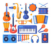 Musical instruments - colorful flat design style objects on white background. Quality collection with guitars, saxophone, drums, maracas, violin, darbuka, trumpet. Sound recording studio equipment