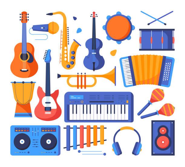stockillustraties, clipart, cartoons en iconen met muziekinstrumenten-kleurrijke platte ontwerp stijl objecten - tamboerijn