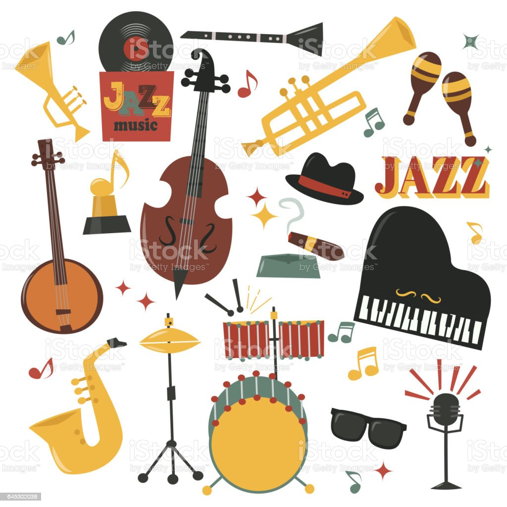 Musical Instruments Decorative Icons With Guitar Drums Headphones And Jazz Rock Concert Note Silhouette Audio Piano