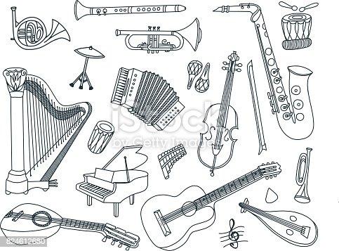 Vector musical instruments doodles.