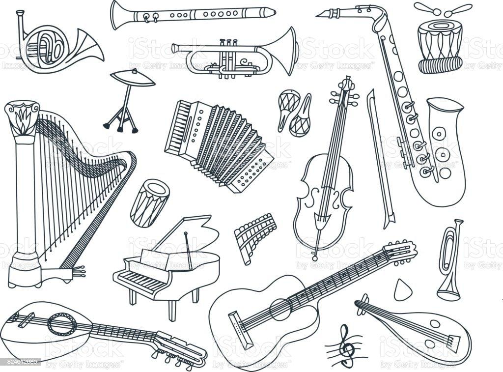 Musical Instruments Doodles vector art illustration