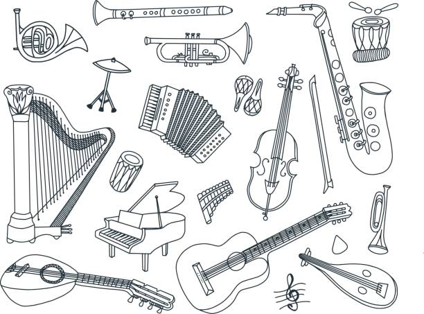 musical instruments doodles - klarnet stock illustrations