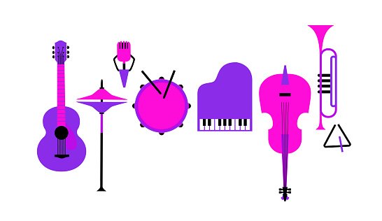 Musical instruments flat color vector icon set