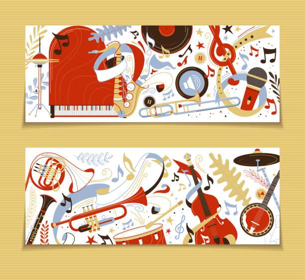 musical instruments flat vector backgrounds set - waltornista stock illustrations