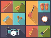 Flat design illustration with a variety of icons of musical instruments for popular music