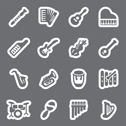Musical Instruments grey line icons   EPS10