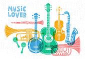 Musical instruments, guitar, fiddle, violin, clarinet, banjo, trombone, trumpet, saxophone, sax. Hand drawn vector illustration.