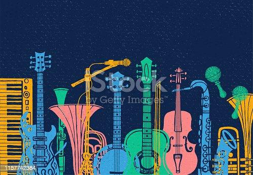 istock Musical instruments, guitar, fiddle, violin, clarinet, banjo, trombone, trumpet, saxophone, sax. Hand drawn vector illustration. 1157742384