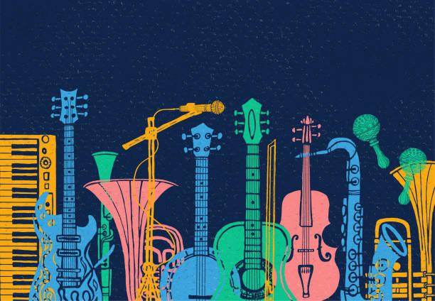 Musical instruments, guitar, fiddle, violin, clarinet, banjo, trombone, trumpet, saxophone, sax. Hand drawn vector illustration. Musical instruments, guitar, fiddle, violin, clarinet, banjo, trombone, trumpet, saxophone, sax music lover slogan graphic for t shirt design posters prints. Hand drawn vector illustration linocut stock illustrations
