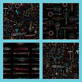 Musical instruments hand drawn outline seamless pattern set. Piano, cello, drum kit line art texture. Colorful contour string, percussion, brass instruments on dark, black background
