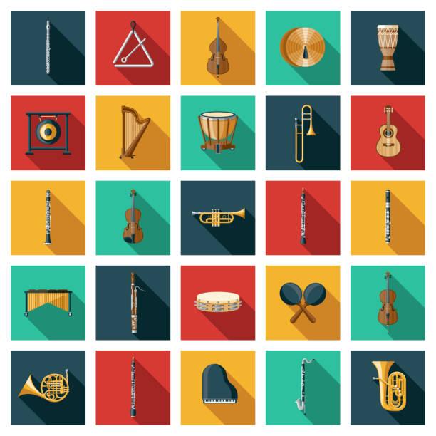stockillustraties, clipart, cartoons en iconen met pictogramset muziekinstrumenten - basklarinet