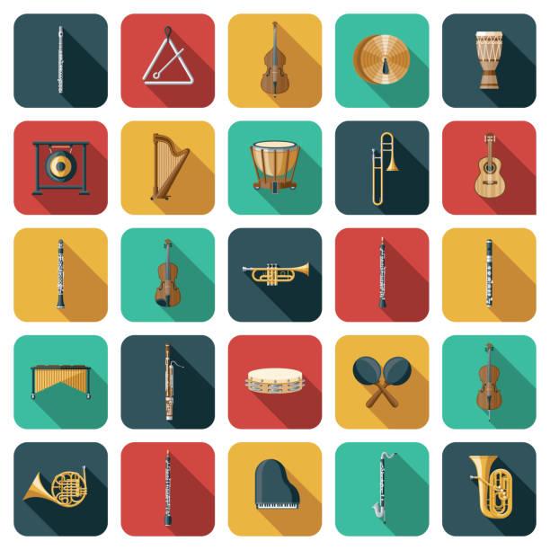 stockillustraties, clipart, cartoons en iconen met muziekinstrumenten pictogram set - basklarinet