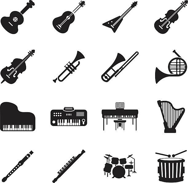 instrumenty muzyczne zestaw ikon - flet stock illustrations