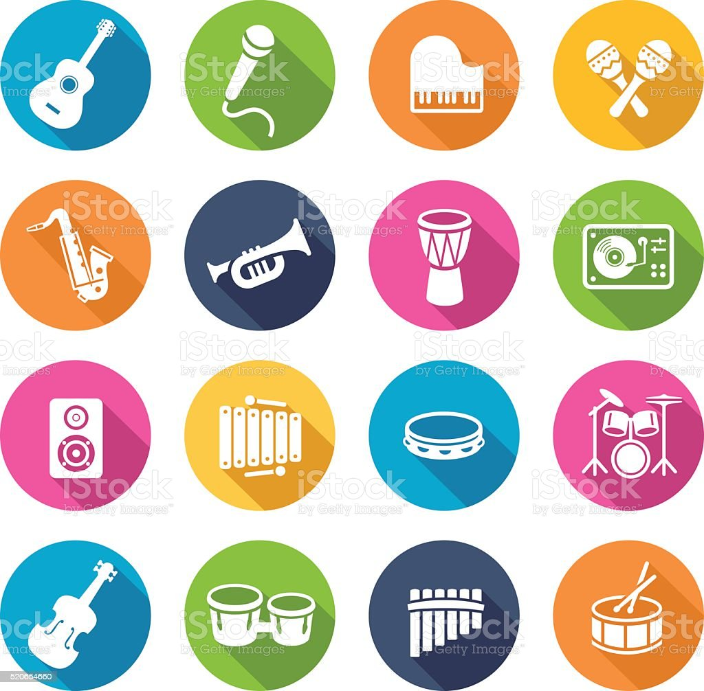 Musical Instruments Icons Circles oprava 2 vector art illustration