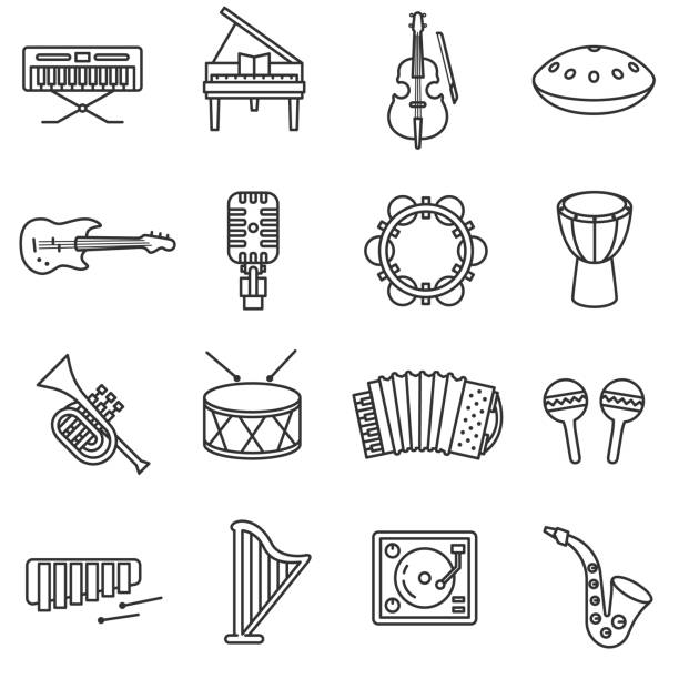 musical instruments icons set. - skrzypce stock illustrations