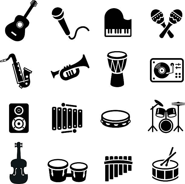 stockillustraties, clipart, cartoons en iconen met musical instruments icons - trompet