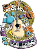 A music theme illustration montage containing various instruments and music equipment.