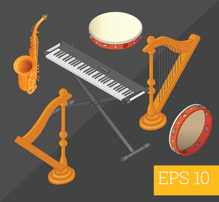 musical instruments isometric vector illustration