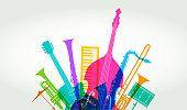 Colourful overlapping silhouettes of Jazz musical instruments