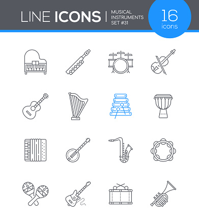 Musical instruments - line design style icons set