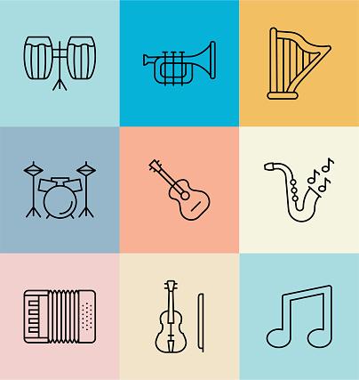 Musical instruments Line Icon Set. Editable Stroke