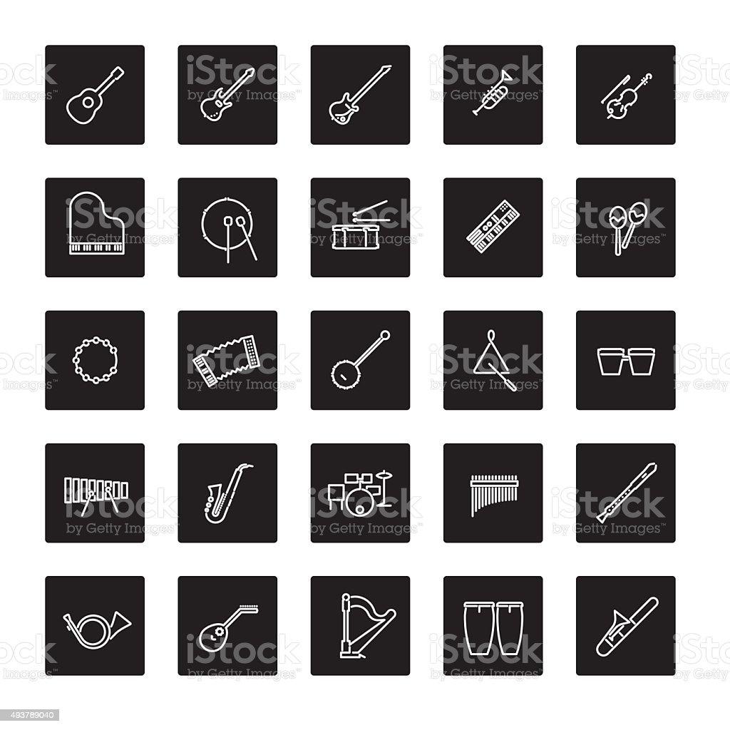 Musical Instruments Line Icon Vector Set vector art illustration