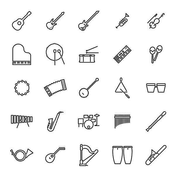 bildbanksillustrationer, clip art samt tecknat material och ikoner med musical instruments line icon vector set - flöjt