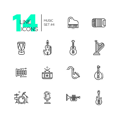 Musical Instruments - line icons set