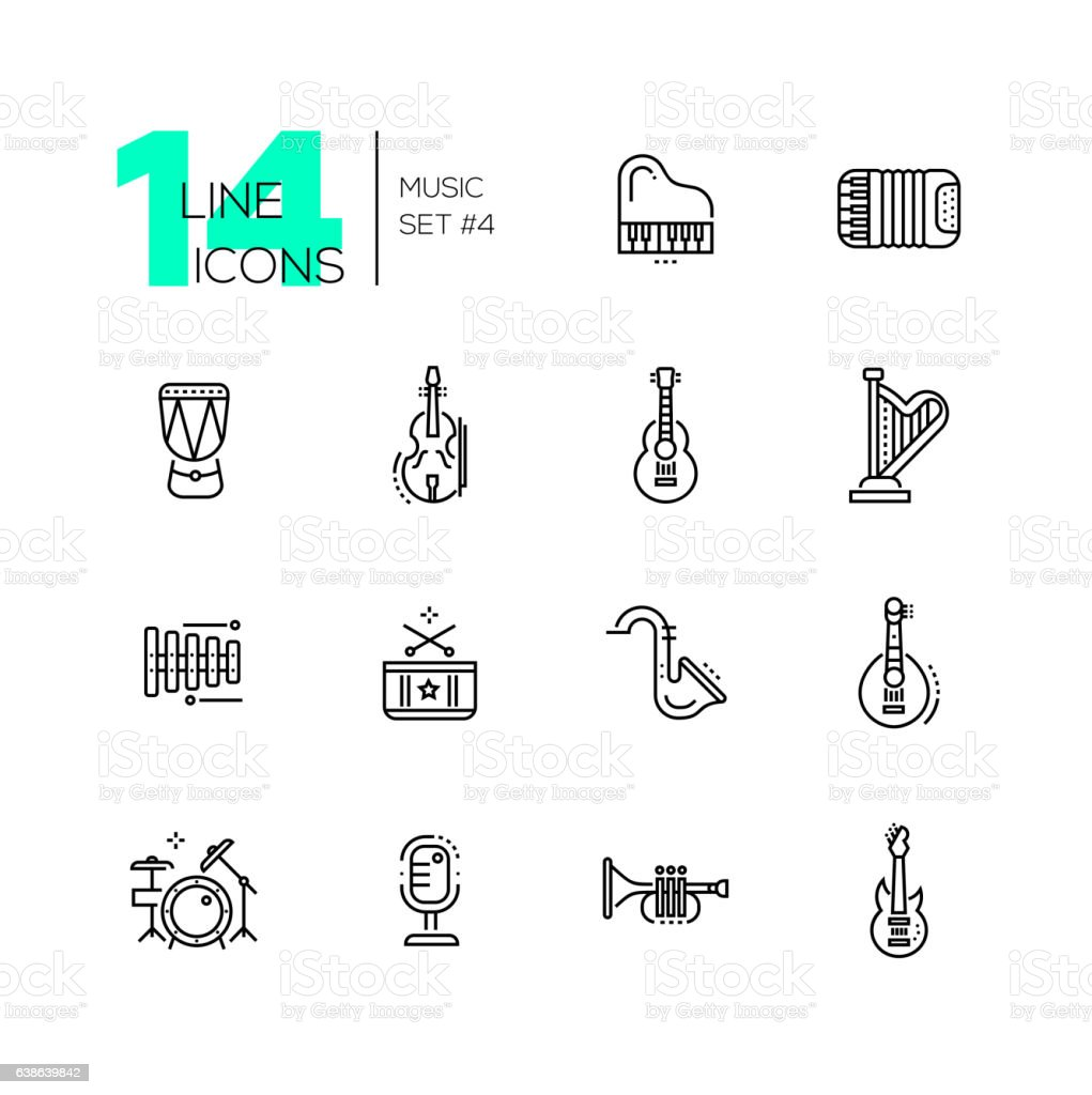 Musical Instruments - line icons set vector art illustration