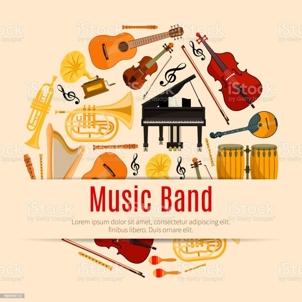 Musical instruments music band vector poster vector art illustration