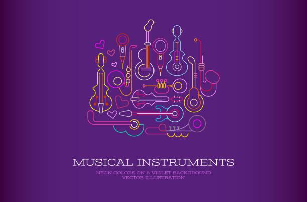 musical instruments neon - instrument muzyczny stock illustrations