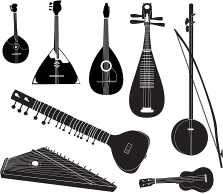 Musical instruments of different cultures collection