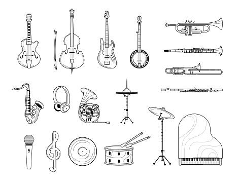 Musical instruments outline illustrations set