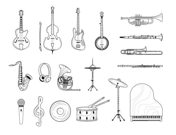 instrumenty muzyczne zarys ilustracji zestaw - instrument muzyczny stock illustrations