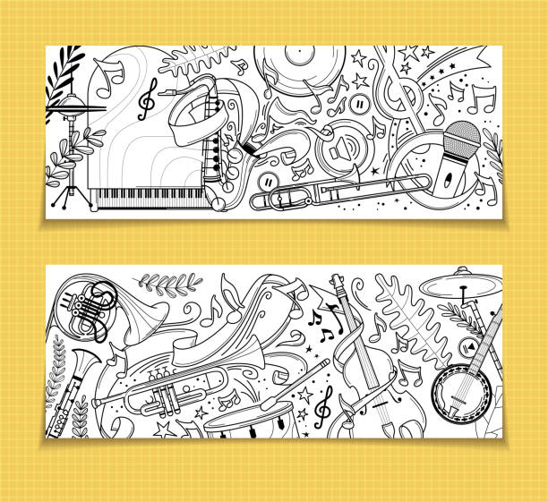 musical instruments outline vintage backgrounds set - waltornista stock illustrations