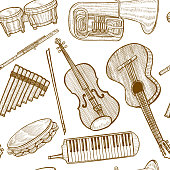 Musical Instruments Pattern. Seamless Background in Hand Drawn Style for Surface Design Fliers Prints Cards Banners. Vector Illustration