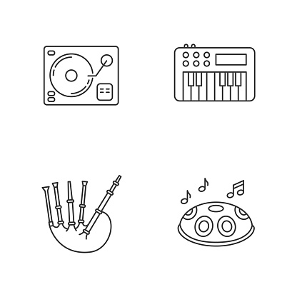 Musical instruments pixel perfect linear icons set