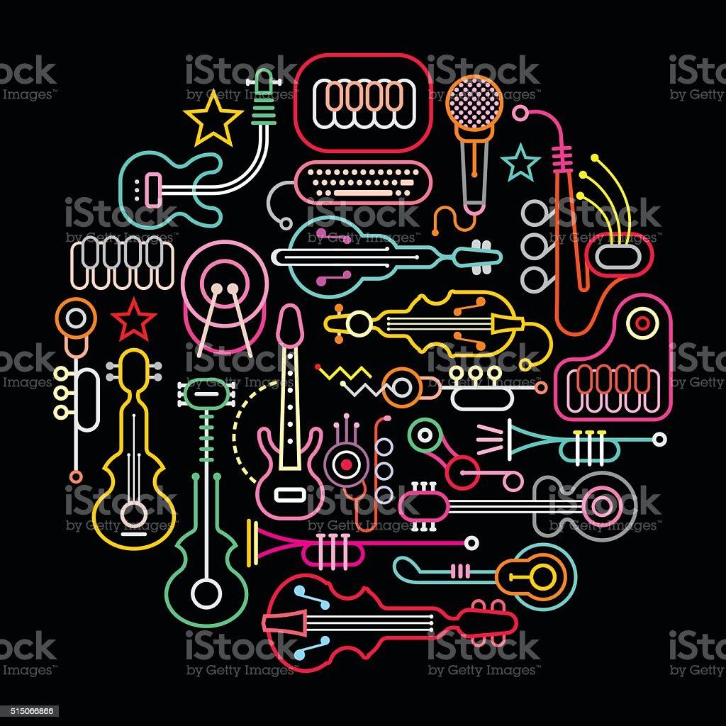 Musical Instruments Round Illustration vector art illustration