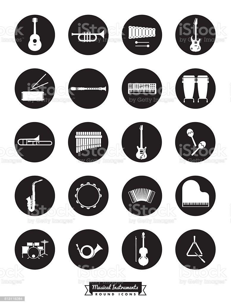 Instrumentos musicales conjunto de iconos Vector de redondo - ilustración de arte vectorial