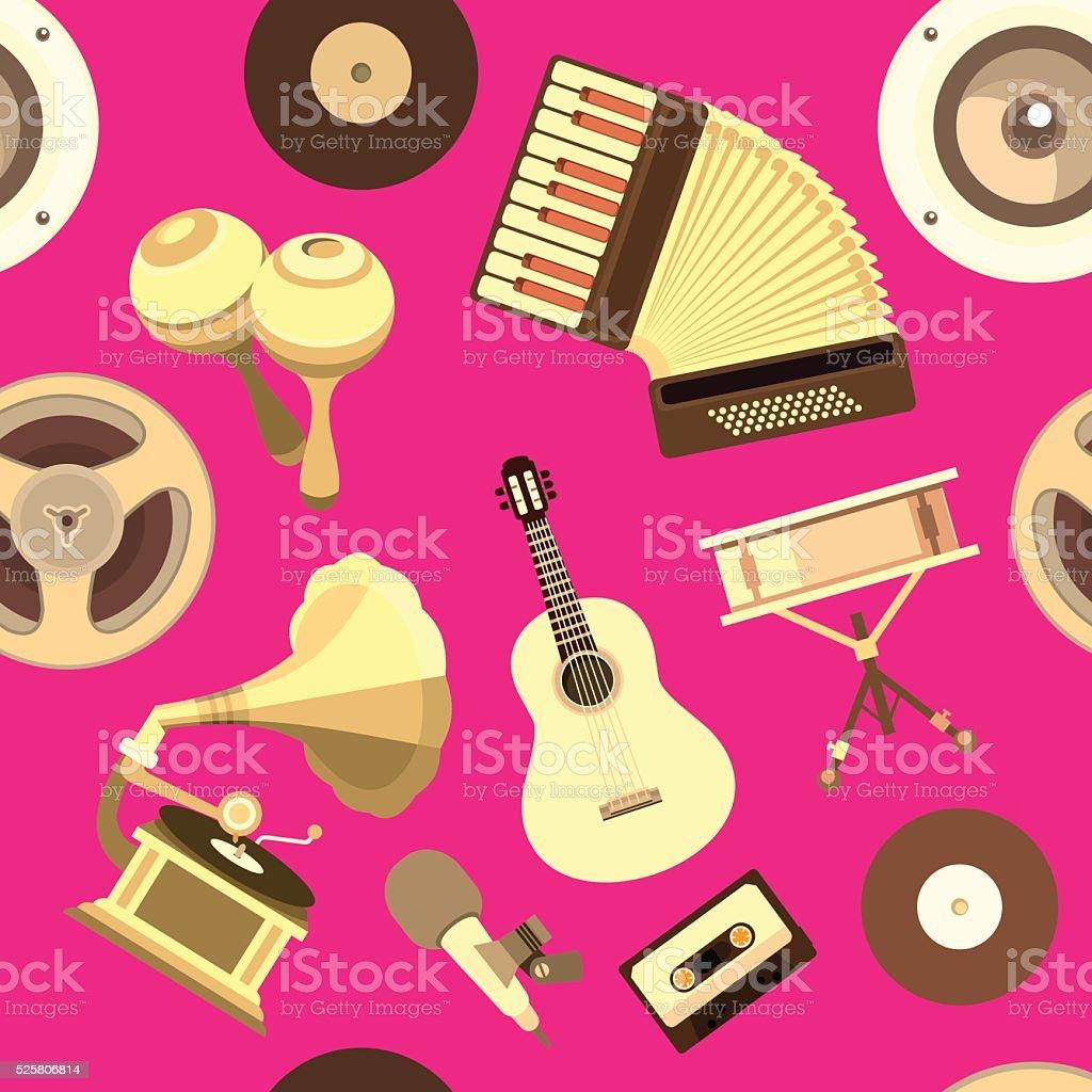 musical Instruments seamless pattern vector art illustration